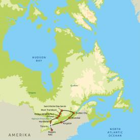 routekaart Beleef Oost-Canada