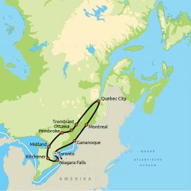 Routekaart Hoogtepunten van Oost