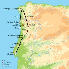 Routekaart Portugal & Santiago de Compostella