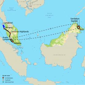 Routekaart Maleisië & Borneo (Sabah)