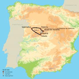 Routekaart Historische steden & prachtige paradores in het hart van Spanje