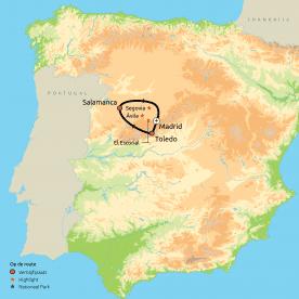 Routekaart Het Beste van Madrid & omgeving