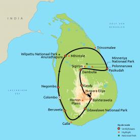 Routekaartje nieuw Relaxt door Sri Lanka GRO