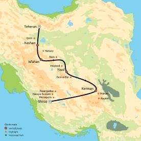 Routekaart groepsreis Klassiek Iran