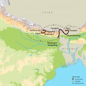 Route Nepal, Sikkim & Bhutan
