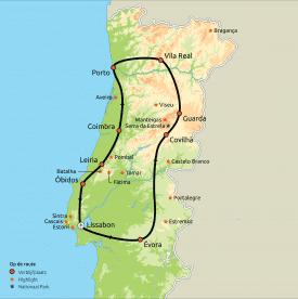 Routekaart Het beste van Midden-Portugal