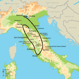 Privereis Volg de Mille Miglia in Italië