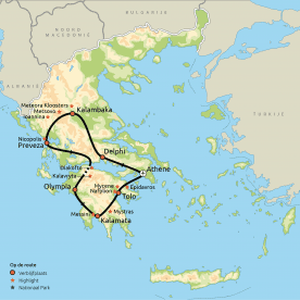 Routekaart Hoogtepunten van Griekenland