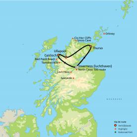 Routekaart Ongerept Noord-Schotland Flydrive