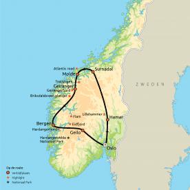 Routekaart Hoogtepunten van Zuid-Noorwegen