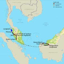 Routekaart Van longhouse tot strandresort in Maleisië