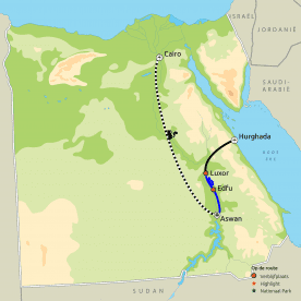Routekaart Egypte Highlights & de Rode Zee