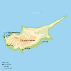 Routekaart Zonnige Zuiden van Cyprus