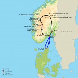 Routekaart Zuid-Noorwegen in vakantiewoningen