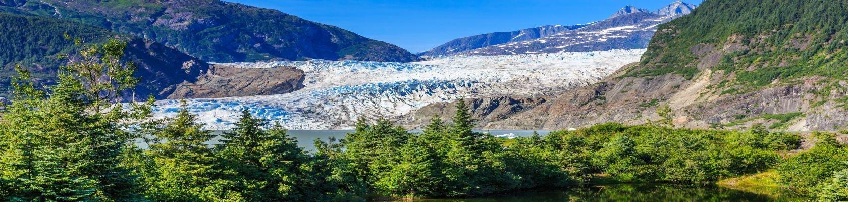 Gletsjer nabij Juneau tijdens de zomer
