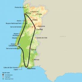 Routekaart Dwars door Portugal